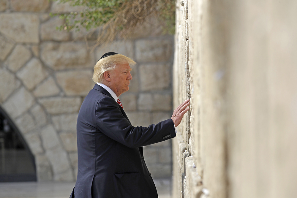 President Trump visits the Western Wall, Monday in Jerusalem.