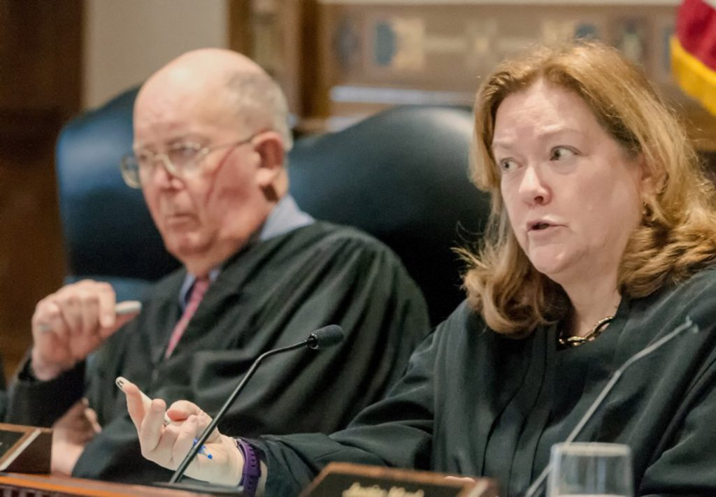 Chief Justice Leigh Saufley asks a question Thursday during the appeal of Wade Hoover's sentence before the Maine Supreme Judicial Court in the Capital Judicial Center in Augusta.