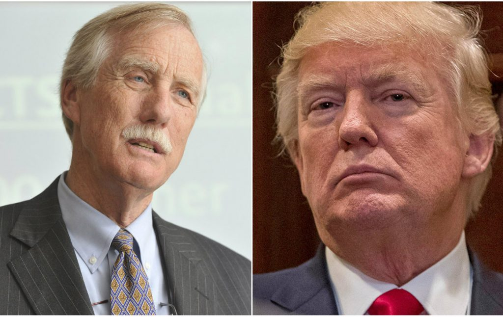 U.S. Sen. Angus King of Maine and President Trump