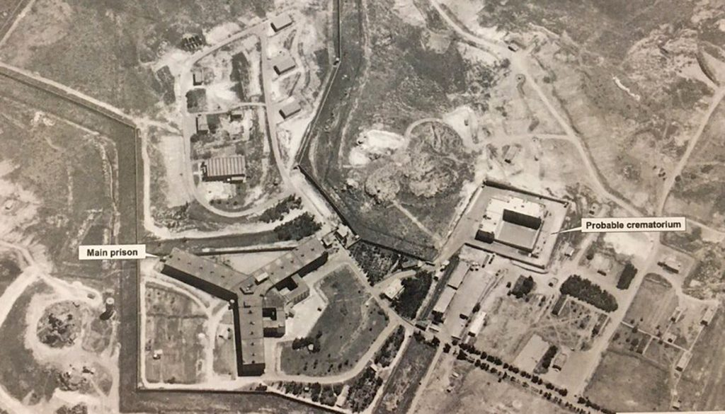 Satellite image released by the U.S. State Department shows a structure the U.S. government believes is a crematorium used to destroy the bodies of prisoners executed at Sedanaya Military Prison.
