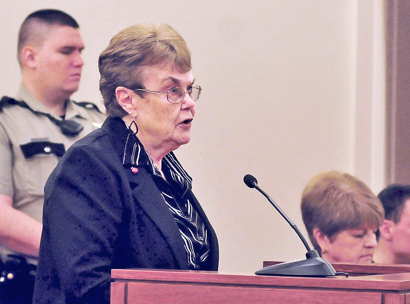 Assault victim Linda Alderson speaks Monday during a hearing at the Capital Judicial Center in Augusta where Mark Halle was sentenced to 27 years in prison.