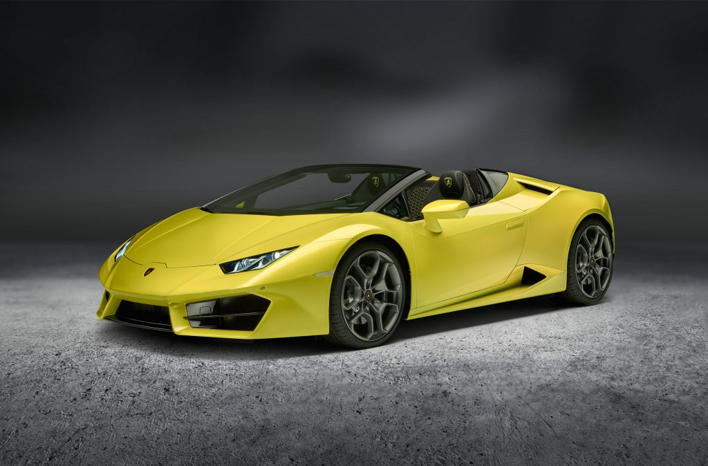 The Lamborghini Huracan Spyder is a rear-wheel-drive street racer, powered by a 5.2-liter, naturally aspirated V-10 engine.