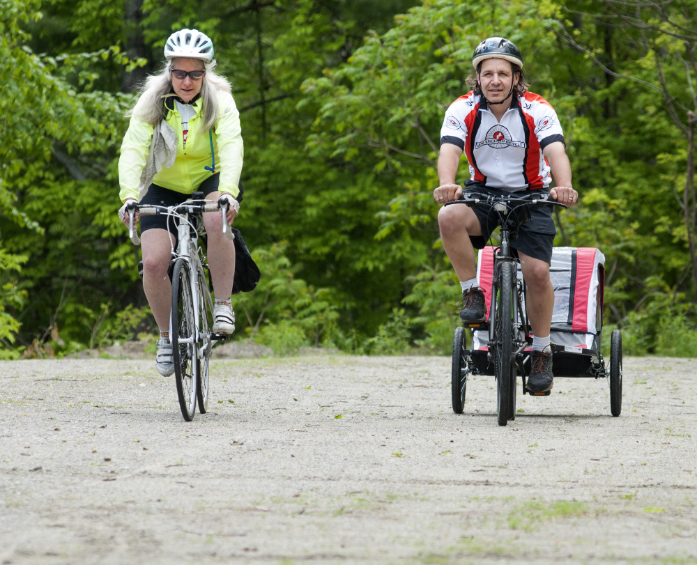 Belgrade couple 39 s 400 mile bike ride supports drug for Bike rides in maine