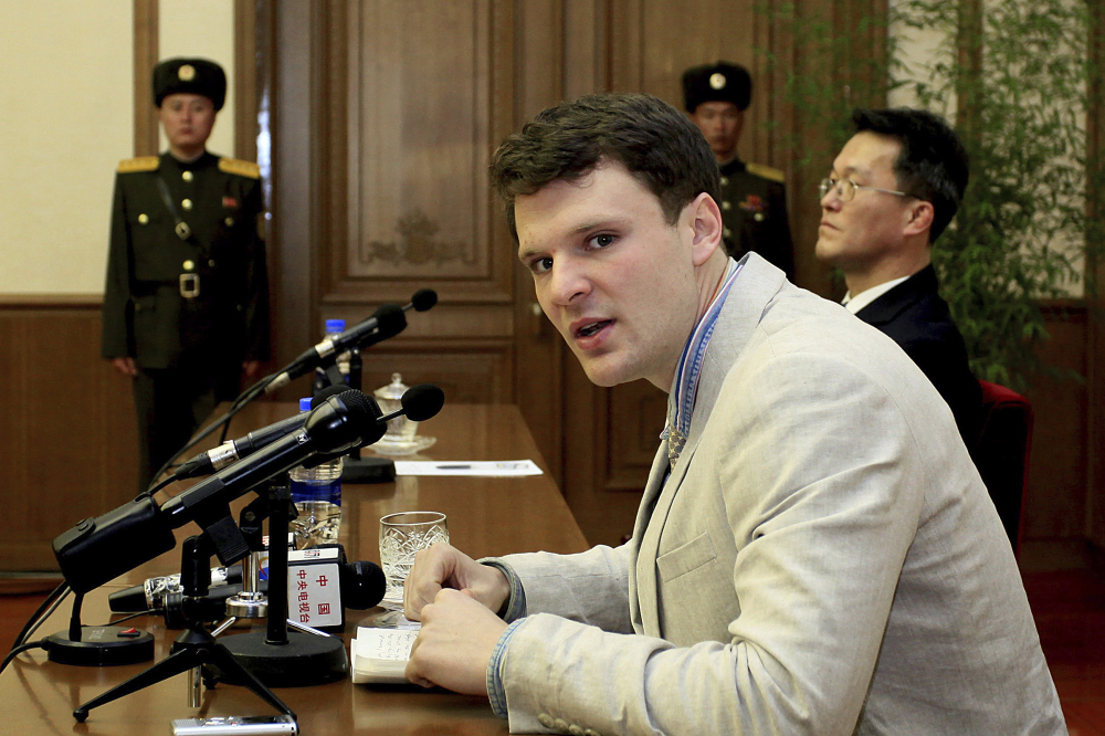 Otto Warmbier speaks to reporters in Pyongyang, North Korea, on Feb. 29, 2016. North Korea released the jailed American university student this week, but doctors say he has lost brain tissue and is unresponsive.