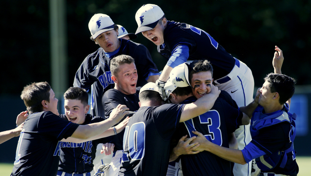 The Falmouth baseball team earned its celebration Wednesday by defeating Cheverus 4-1 in the Class A South final. One more hurdle (one more celebration?) remains Saturday when it meets Bangor in a state-final rematch. Bangor has won three straight state championships.