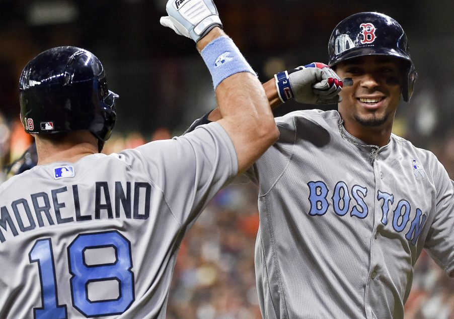 Xander Bogaerts, right, celebrates with Mitch Moreland after hitting a solo home run in the first inning Sunday night against the Houston Astros. Bogaerts homered twice and had four RBI in Boston's 6-5 win.