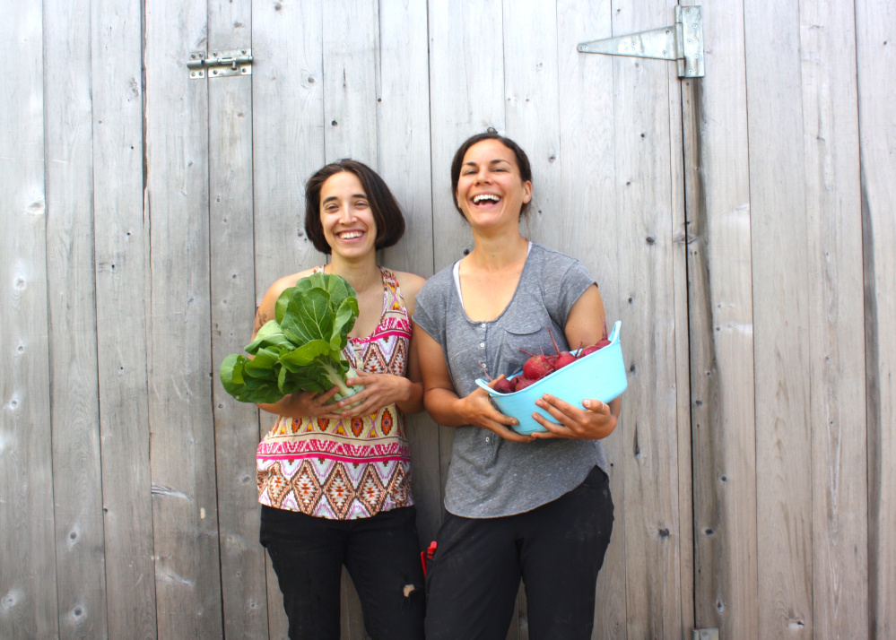 Farmer Flora Brown, left, with help from apprentice Mary Jo Scott, is launching a meal kit company called BEEP Box next month from Frinklepod Farm in Arundel. The kits, featuring local food that's organic and vegan, will sell for $20.
