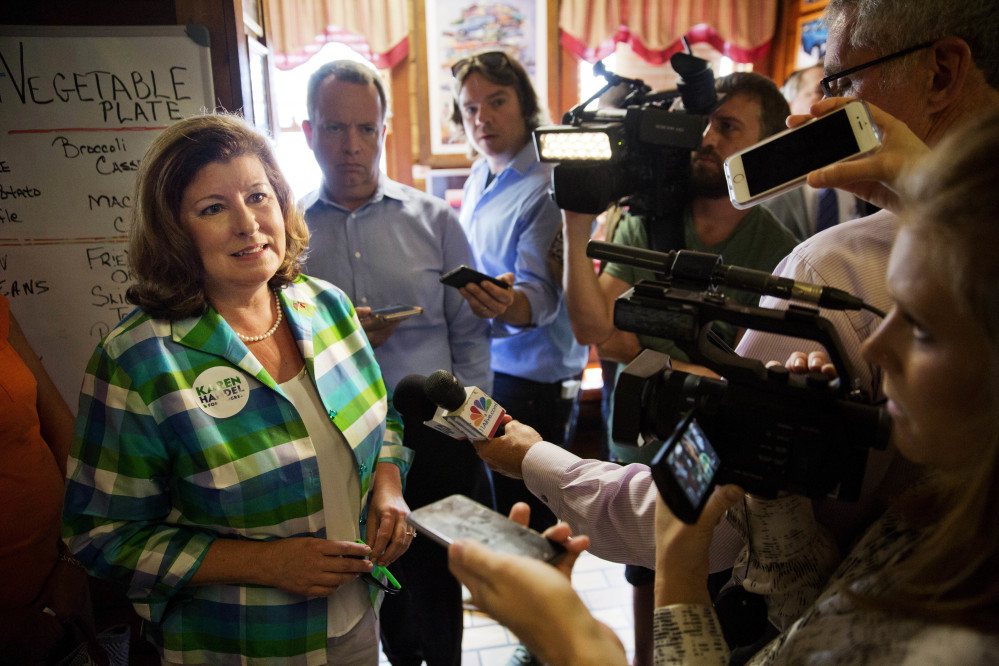 Republican Karen Handel, who won Georgia's 6th Congressional District seat, talks to reporters during a campaign stop at Old Hickory House in Tucker, Ga., on Monday.