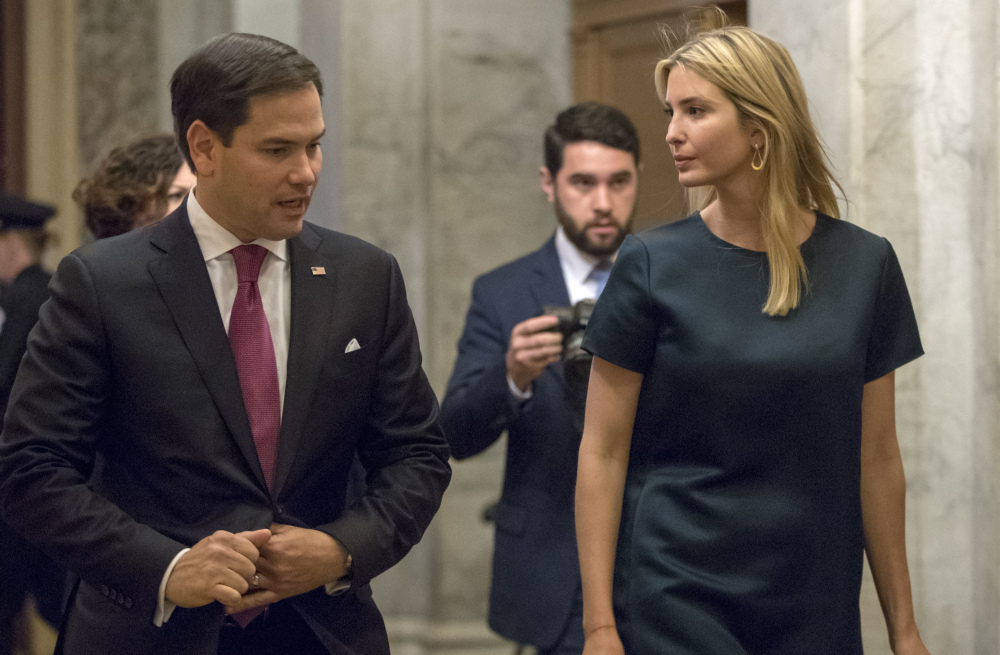 Ivanka Trump, the president's daughter, talks with Sen. Marco Rubio of Florida as she meets with Republican lawmakers.