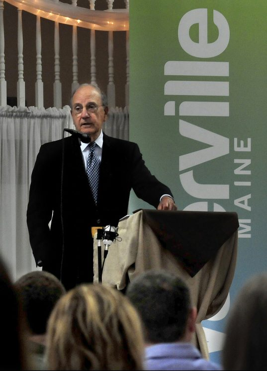 Former U.S. Sen. George Mitchell speaks during a Mid-Maine Chamber of Commerce Leadership luncheon Tuesday in Waterville.