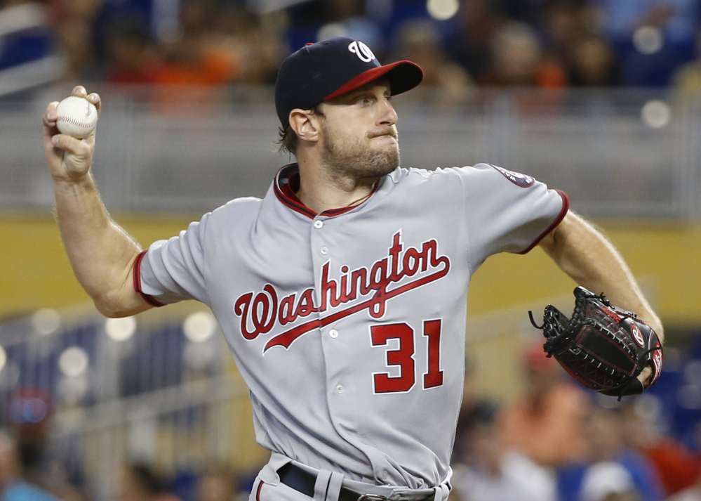 Washington's Max Scherzer pitches another strong game Wednesday afternoon, but two unearned runs cost the first-place Nationals a 2-1 loss to the host Miami Marlins.