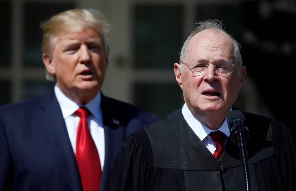 Should Justice Anthony Kennedy, right, retire, President Trump would have his second Supreme Court pick.