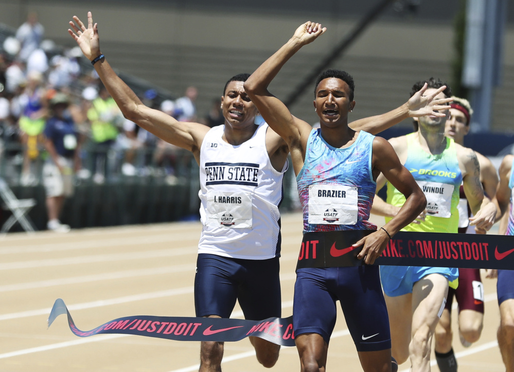 Isaiah Harris, left, of Lewiston celebrates as he crosses the finish line to take second place in the 800 meters at the U.S. track and field championships on Sunday in Sacramento, California. Donvan Brazier, second from left, won the race in 1:44.14. The top three finishers earn a spot on the U.S. team for the world championships in London in August.