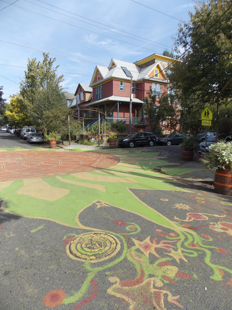 Inspired by street paintings like this one in Portland, Ore., a Westbrook resident brought the idea home to his community. Westbrook is looking at the pros and cons of creating street art.