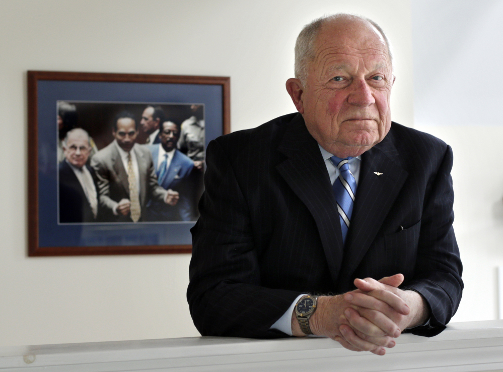 Famed defense attorney F. Lee Bailey, shown in his office in Yarmouth in 2014, has filed for bankruptcy again to tie up loose ends following his bankruptcy filing in 2016.