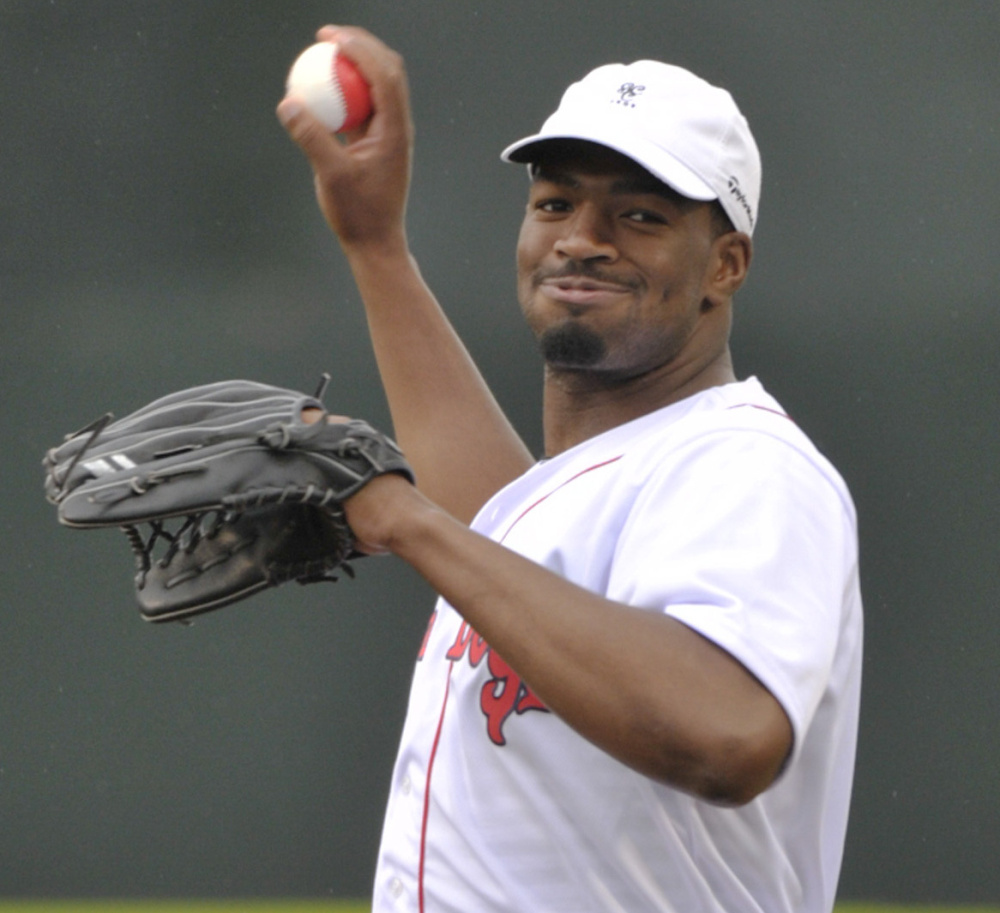 Quarterback Jacoby Brissett of the New England Patriots throws out the first ball Tuesday night before the Sea Dogs' game against New Hampshire at Hadlock Field.