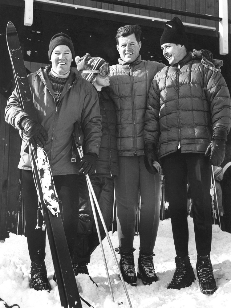 Waterville Valley ski area developer Tom Corcoran, far left, and his wife, Roberta, pose with Sen. Edward Kennedy, D-Mass., and ski instructor Paul Pfosi, far right, in 1966.