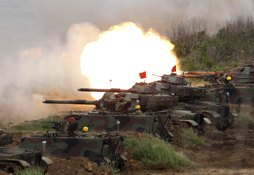 U.S. tanks fire at targets during exercises on the outlying Penghu Island, Taiwan in May.