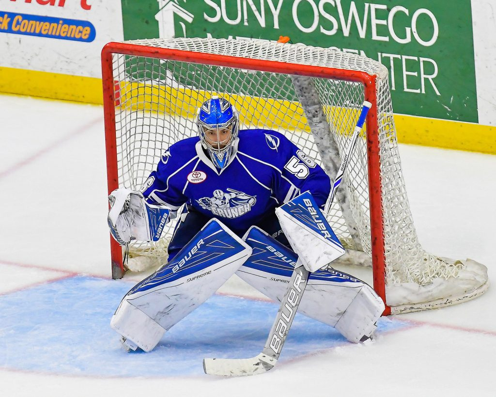 Mike McKenna has played in all 18 playoff games for the Syracuse Crunch, going 11-7 with a 2.66 goals-against average.