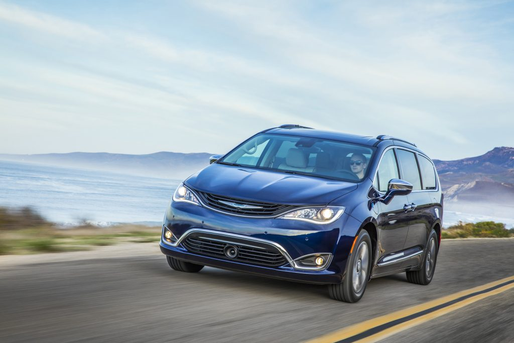 The 2017 Chrysler Pacifica Hybrid combines FCA's 3.6-liter V-6 gasoline engine with an electric motor, together driven through a nine-speed transmission.