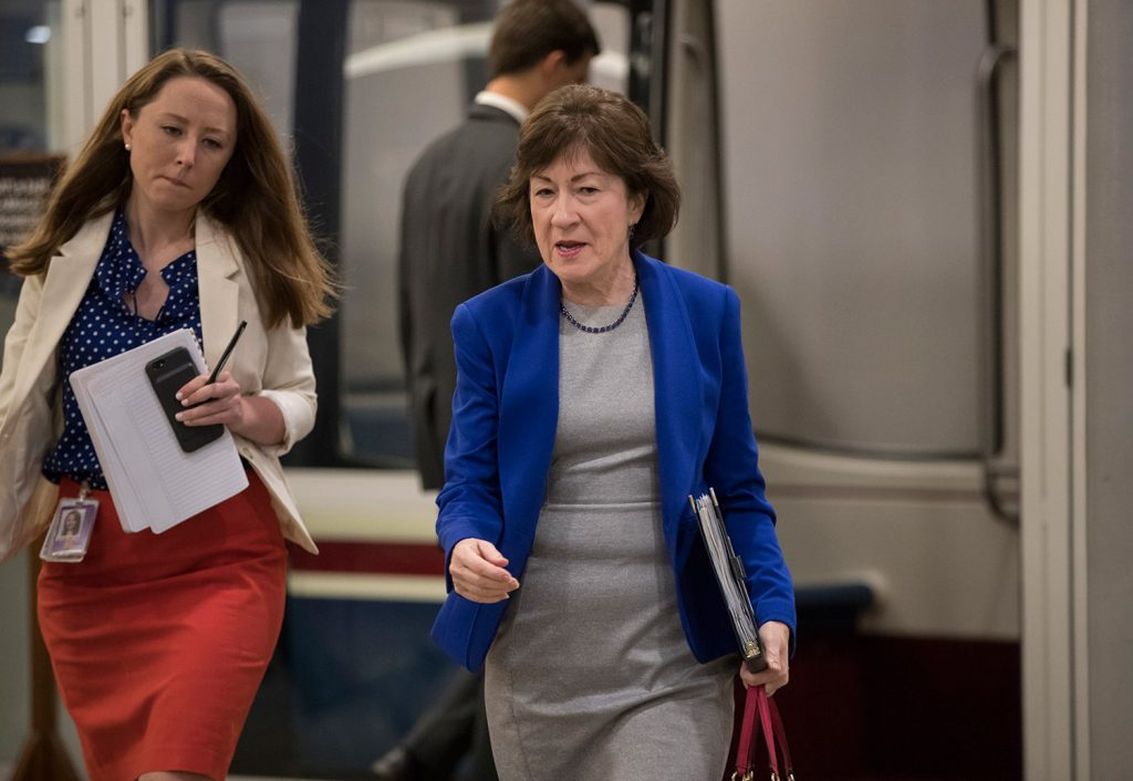 Sen. Susan Collins, R-Maine, arrives for a briefing with Senate Majority Leader Mitch McConnell, R-Ky., who was releasing the Republican healthcare bill, on Thursday at the Capitol in Washington. President Trump was working behind the scenes to secure Republican votes for the bill.