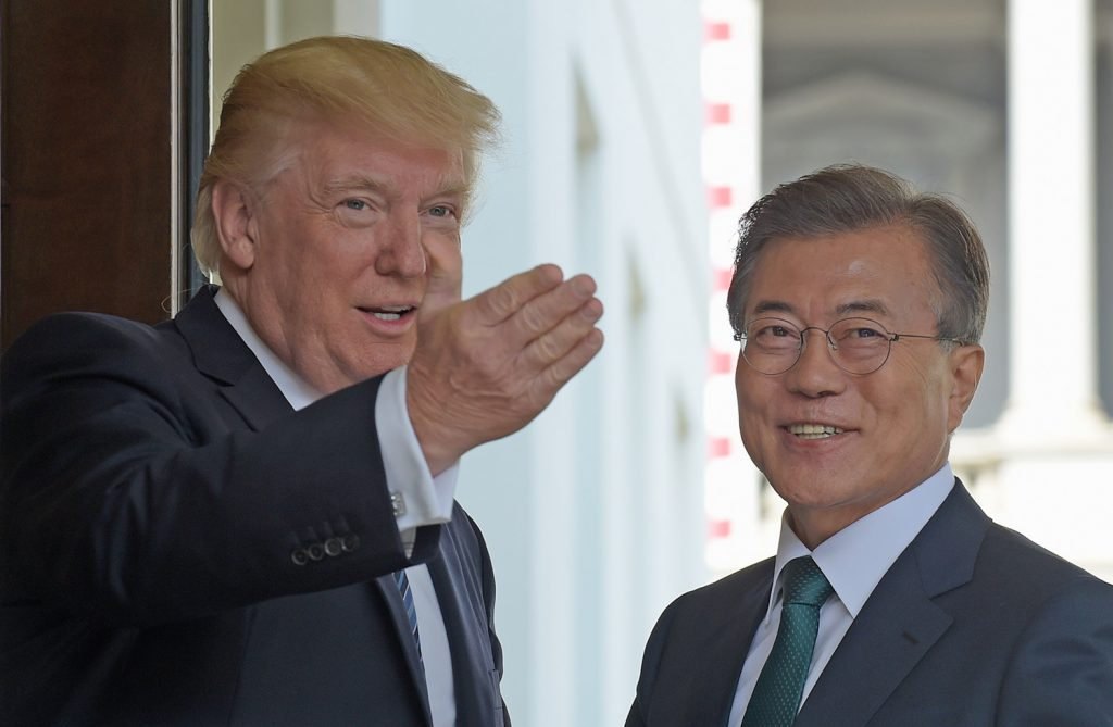 President Trump welcomes South Korean President Moon Jae-in to the White House in Washington on Friday.