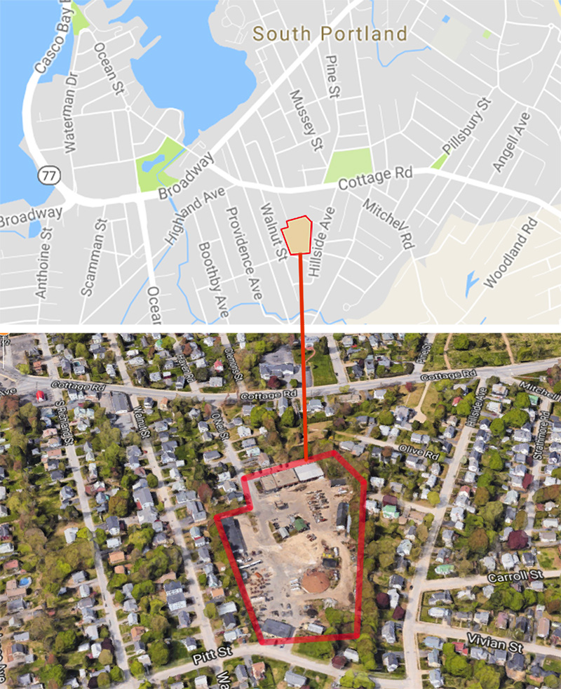 The soon-to-be vacated public works garage site occupies 6 acres at the end of O'Neil Street in South Portland.