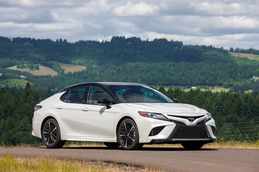 The 2018 Toyota Camry features an impressive new platform equipped with front MacPherson struts and a new rear double wishbone rear suspension.