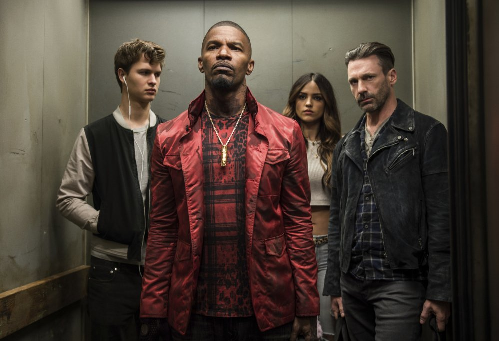 Ansel Elgort, left, Jamie Foxx, Eiza Gonzalez and Jon Hamm in