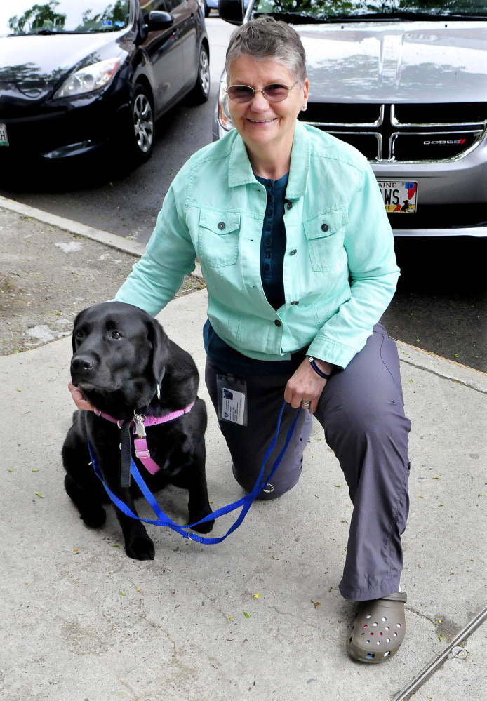 Trainer Rita Pirrotta, of Love on a Leash, works with therapy dog Abby on May 31 on Main Street in Waterville.
