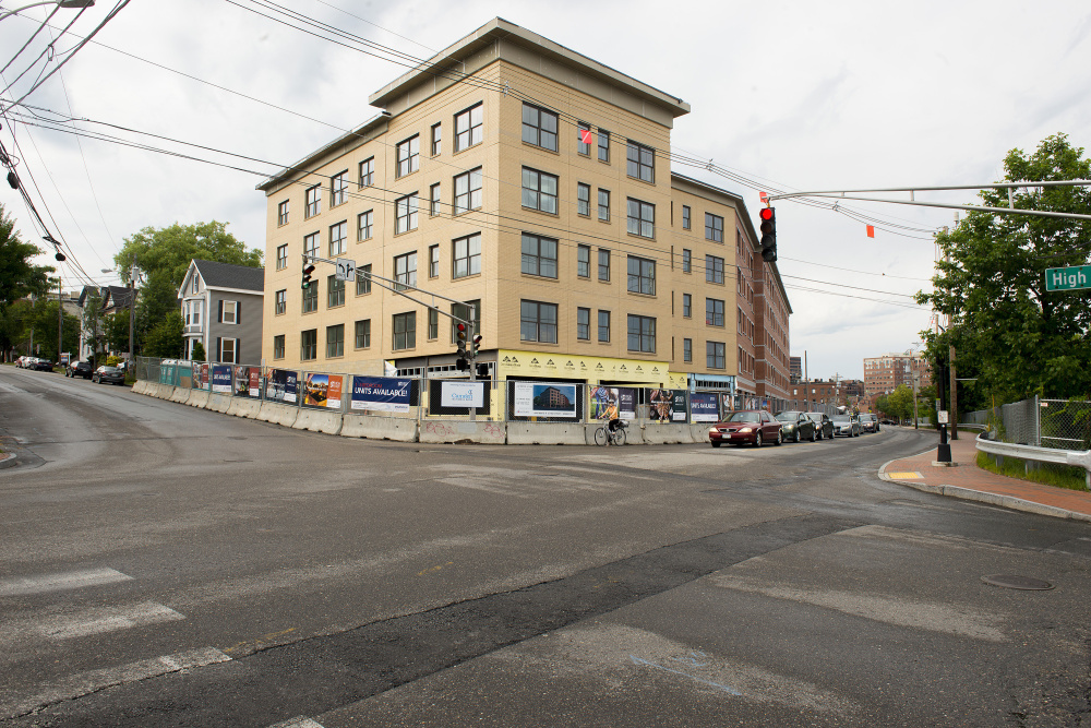 People on the wait list for apartments in this new building at High and York streets were informed in April that the units would instead be sold as condos. Nine of the condos had been reserved as of Friday.