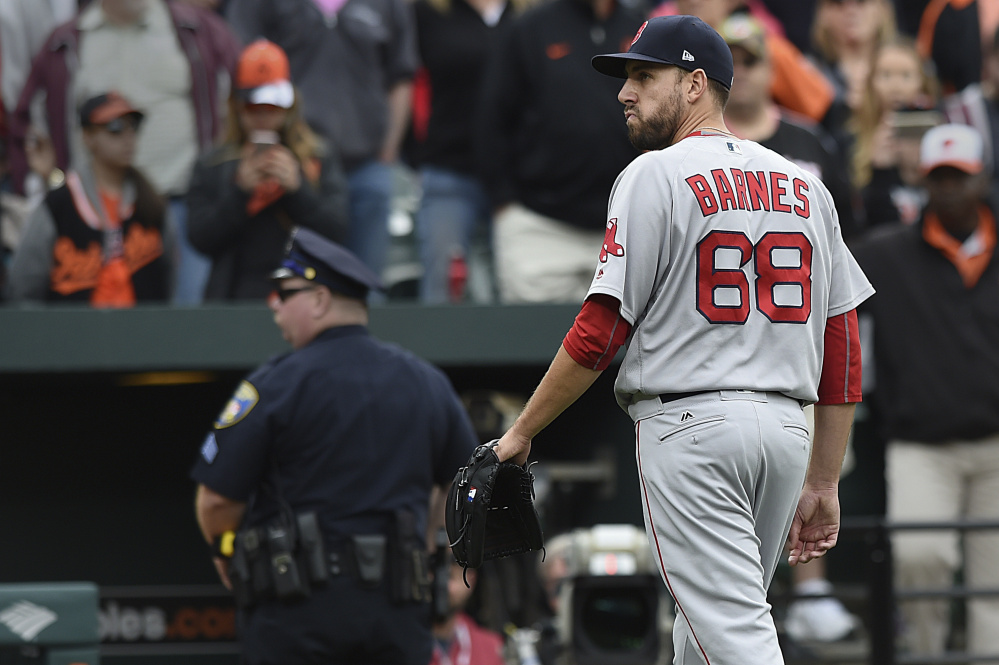 Matt Barnes has been inconsistent in his role as a setup man for the Boston Red Sox, with 21 walks in a little more than 40 innings. Getting to Craig Kimbrel in the ninth inning is one of the problems that the team may be forced to address before the trading deadline.
