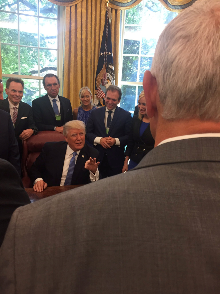 U.S. President Donald Trump speaks to a group of evangelical leaders in the Oval Office at the White House in Washington, DC, U.S. on July 10, 2017 in this picture obtained from social media. Picture taken on July 10, 2017.  Courtesy Johnnie Moore/Handout via REUTERS   ATTENTION EDITORS - THIS IMAGE WAS PROVIDED BY A THIRD PARTY. MANDATORY CREDIT. - RTX3BB1C