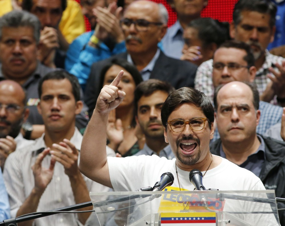 National Assembly first Vice President Freddy Guevara speaks to the media in Caracas, Venezuela, on Monday, a day after voters rejected a plan to rewrite the constitution.