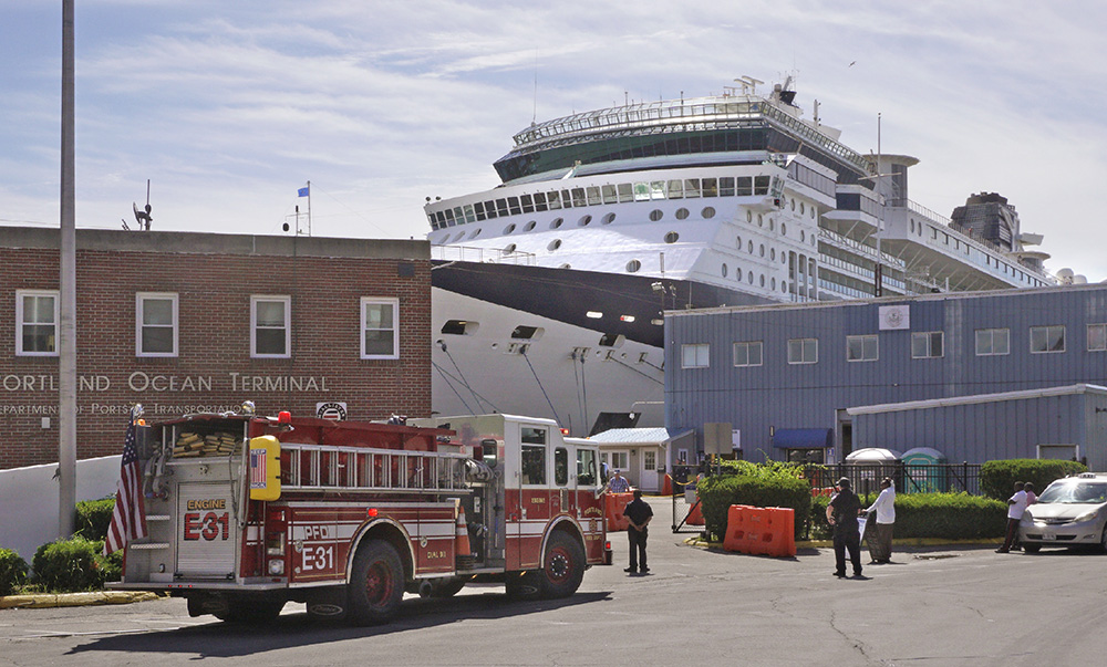 Four elderly passengers from the Celebrity Summit cruise ship were treated for various injuries after the ship pulled into Portland on Monday.