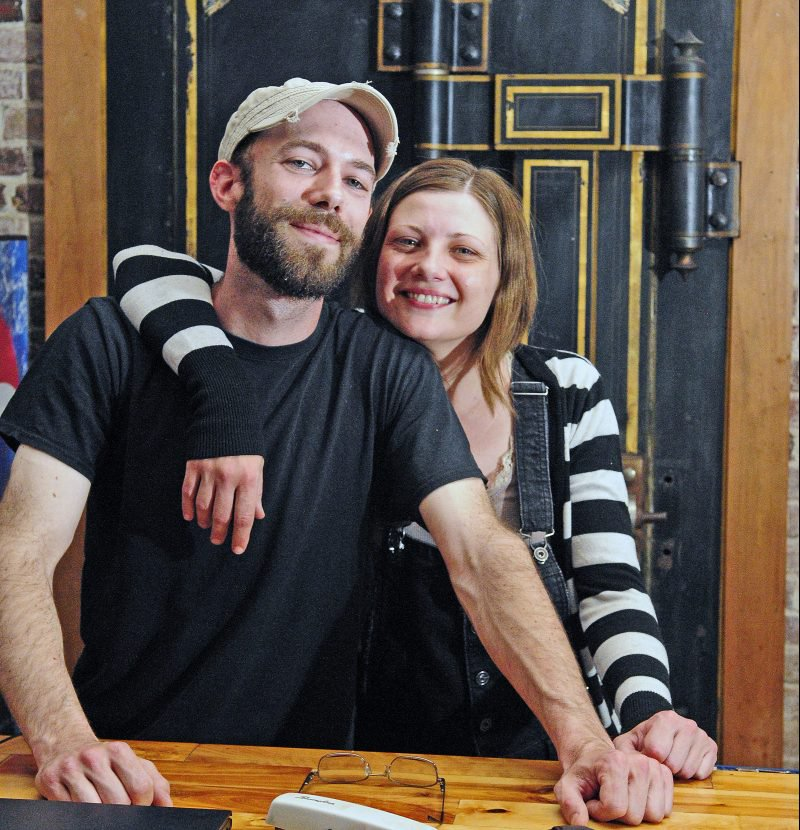 Buddy Iaciofano, left, and Becky Havens pose in front of the large safe that houses a walk in cooler in the former Hattie's Chowder House on May 24, 2016, in Hallowell. They opened Buddy's Diner July 4, 2016, but were forced to close it earlier this year.