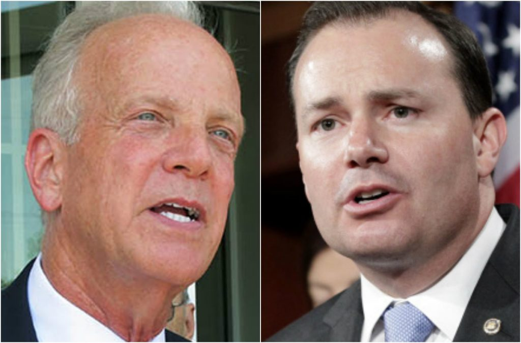 Republican Sens. Jerry Moran of Kansas, left and Mike Lee of Utah announced Monday that they oppose their party's health care bill. Their opposition appears to leave the measure without enough   votes to pass.