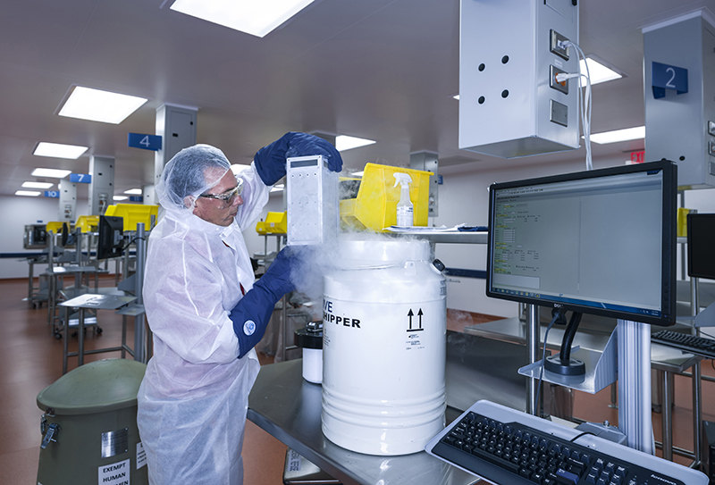 Human T cells belonging to cancer patients arrive at Novartis Pharmaceuticals Corp.'s facility in 2015. This laboratory is where the T cells of cancer patients are processed and turned into super cells as part of a new gene therapy-based cancer treatment.