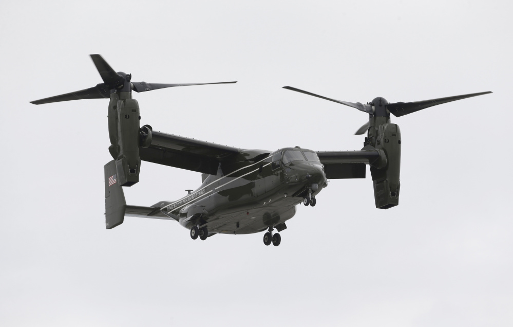 A Marine Corps MV-22 Osprey takes off and lands like a helicopter but flies like an airplane. It has been involved in a series of high-profile crashes in recent years.