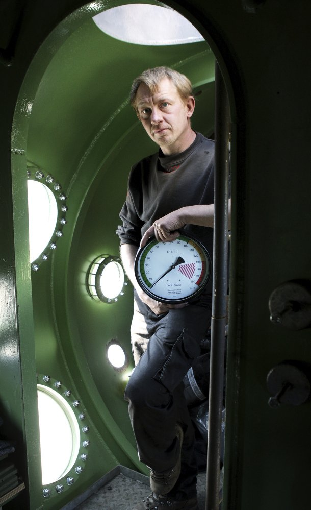 Danish submarine owner Peter Madsen stands inside his privately built 60-foot vessel in 2008.