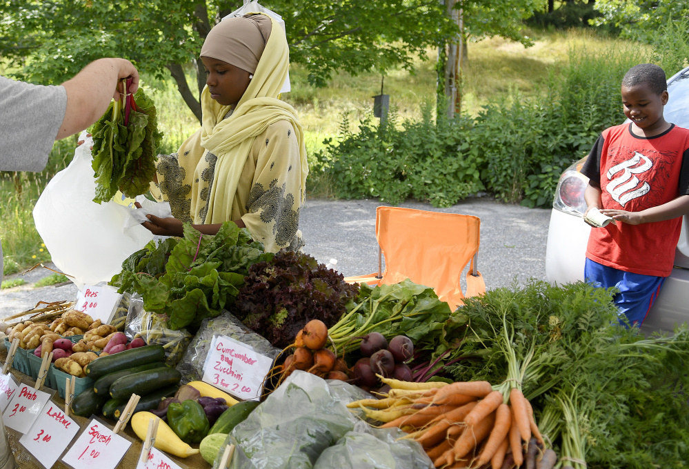 Dahabo Hassan and Feysal Mudey sell vegetables Aug. 4 at the Beyond Borders Farmers Market, held Fridays at the arboretum in Augusta. Sambusas are also sold.