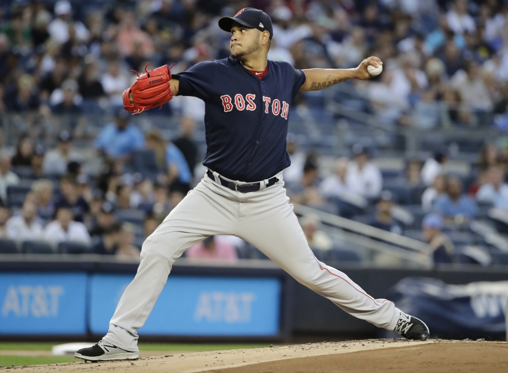 The Red Sox wasted a strong start by Eduardo Rodriguez, who shut out the Yankees for six innings, giving up just two hits.