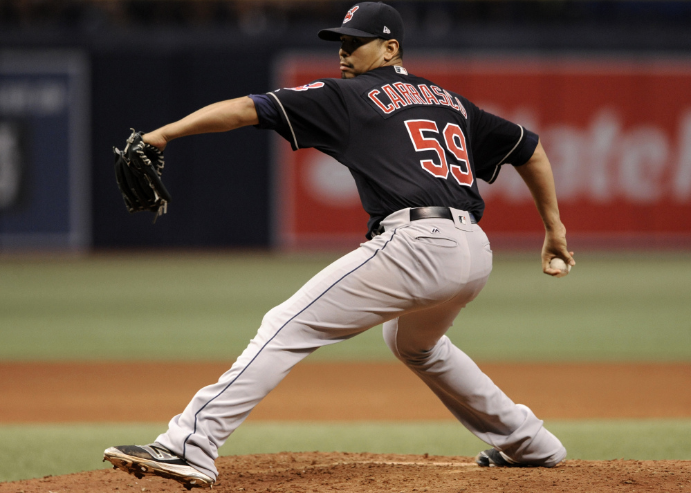 Indians starter Carlos Carrasco took a no-hitter into the seventh inning on Friday in Cleveland's 5-0 victory at Tampa Bay. Carrasco nearly no-hit the Rays two years ago as well.