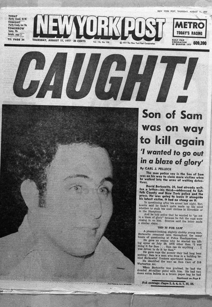 The front-page headline of the New York Post announces the arrest of David Berkowitz in 1977.