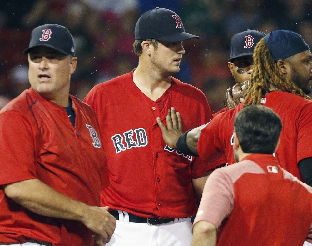 Drew Pomeranz, center, has been Boston's second-best starting pitcher this season, but now his health status is uncertain after he left Friday's game against the New York Yankees in the fourth inning because of back spasms.