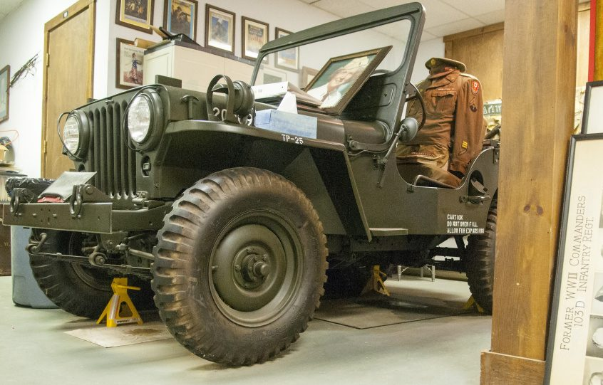 A Jeep is part of the collection that's losing its display space when the Maine National Guard moves from Camp Keyes to Camp Chamberlain early next year, leaving no room for the Maine Military Historical Society.