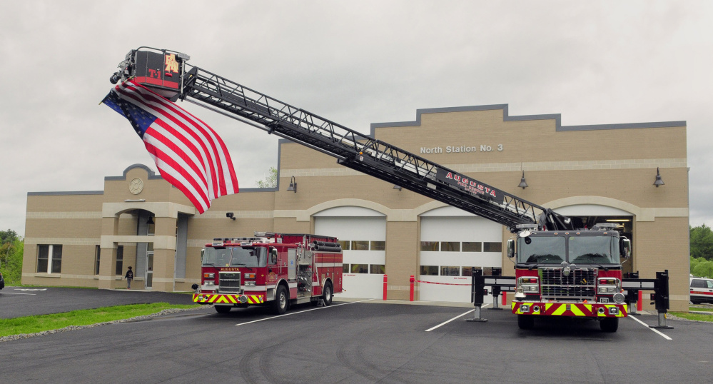 The Augusta Fire Department's new truck, Tower 1, is parked in May at the new North Station No. 3. The truck has been sent back to Connecticut for repairs.