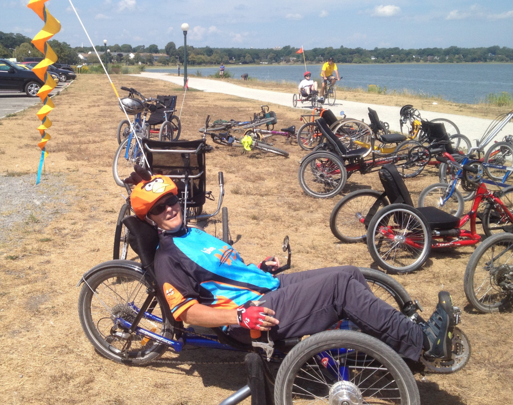 Max Michaud takes a break from her training with Maine Adaptive Sports & Recreation at the Back Cove Trail in Portland.