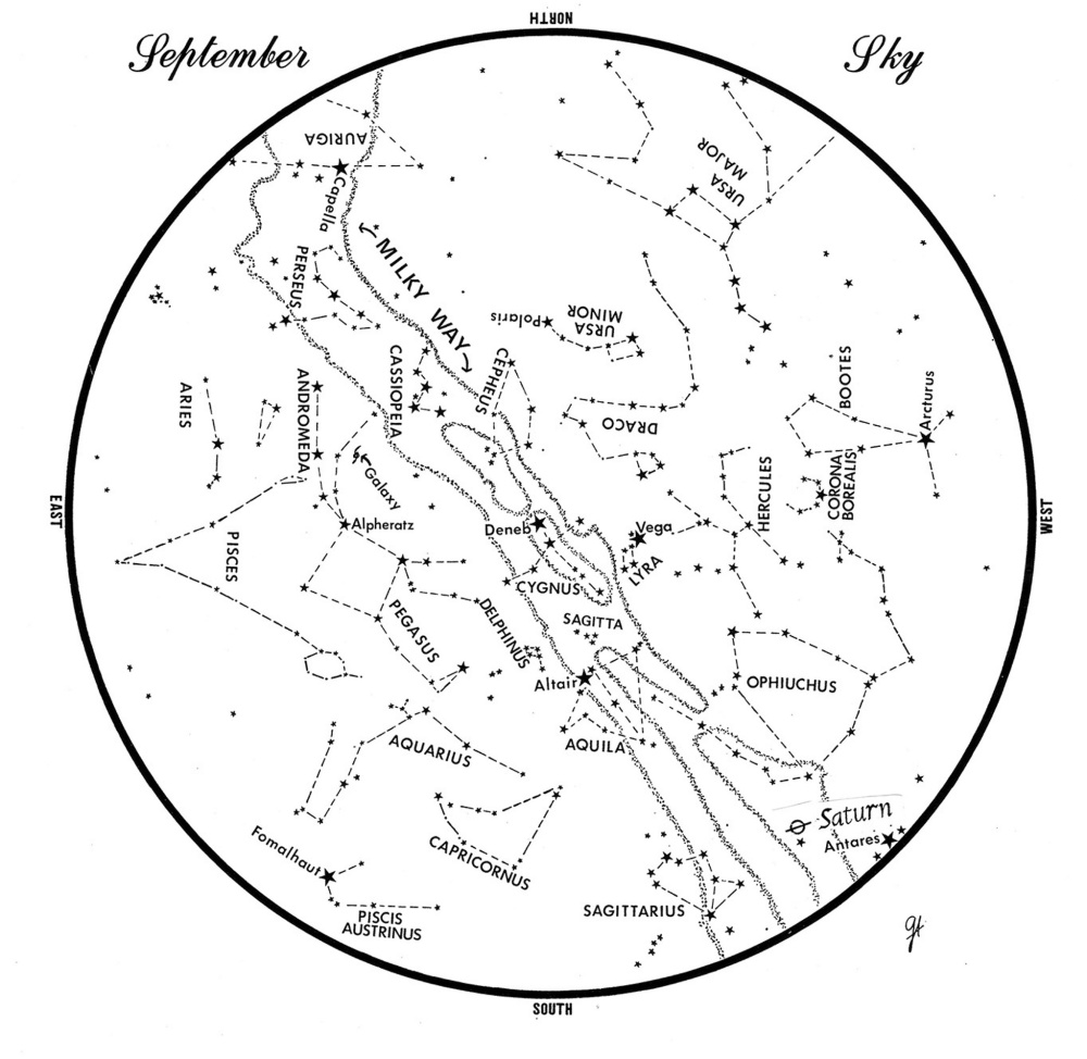 SKY GUIDE: This chart represents the sky as it appears over Maine during September.  The stars are shown as they appear at 10:30 p.m. early in the month, at 9:30 pm. at midmonth and at 8:30 p.m. at month's end.  Saturn is shown in its midmonth position.  To use the map, hold it vertically and turn it so that the direction you are facing is at the bottom.