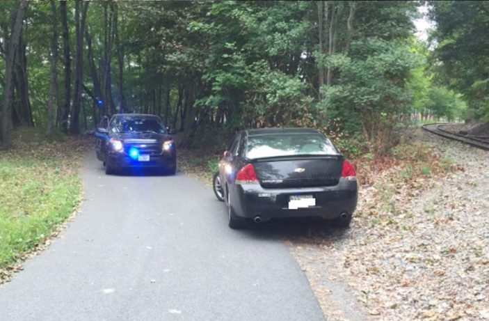 Police stopped a Skowhegan man who on Wednesday mistakenly drove his car on the Kennebec River Rail Trail.